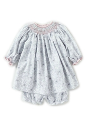Petit Ami Baby-Girl-Vintage-Rose-Dress-In-Grey-With-Bloomers - Front cropped