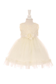 Cinderella Couture Baby Girls Ivory Floral Lace Dress - Product Mini Image