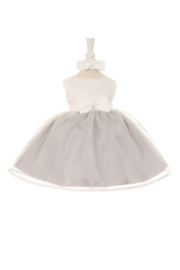 Cinderella Couture Baby Girls Silver & Ivory Short Dress - Product Mini Image