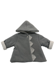 LA MASCOT  BABY HOODED JACKET WITH LACE EDGE BY ITALY - Front cropped