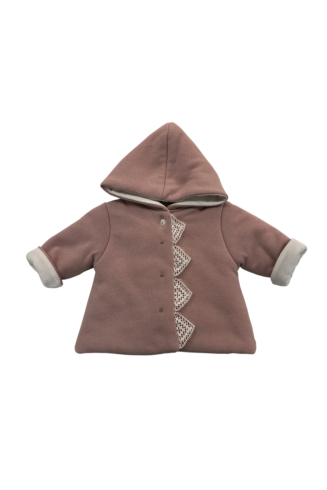LA MASCOT  BABY HOODED JACKET WITH LACE EDGE BY ITALY - Main Image