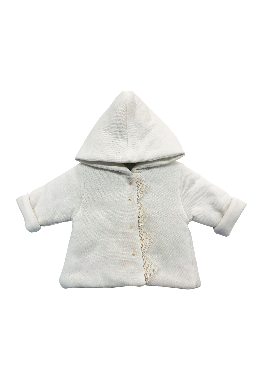 LA MASCOT  BABY HOODED JACKET WITH LACE EDGE BY ITALY - Front Cropped Image