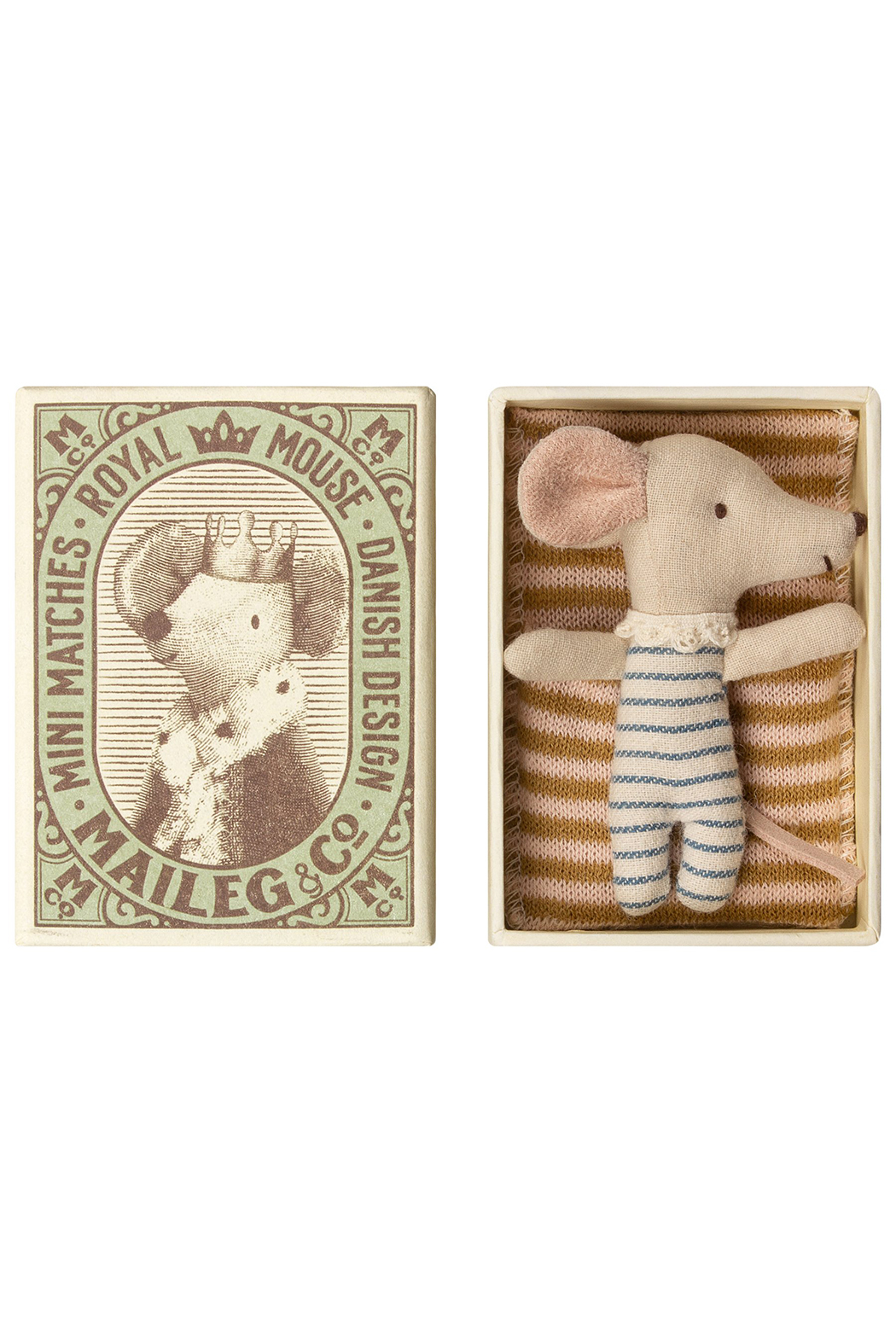 Maileg Baby Mouse Sleepy-Wakey in Box Boy - Front Cropped Image