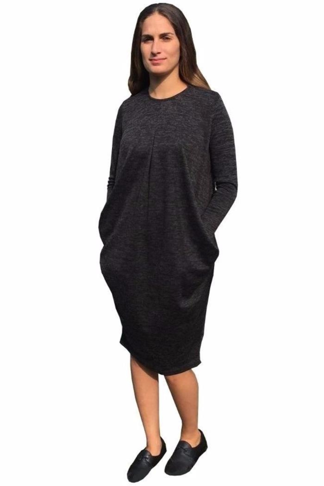 Baby-O Pleated Slouch Dress - Front Cropped Image
