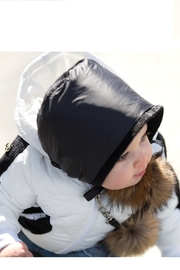 COZY COOP  BABY QUILTED CAP - SHINY BLACK PADDED WITH FUR POM POMS - Front cropped