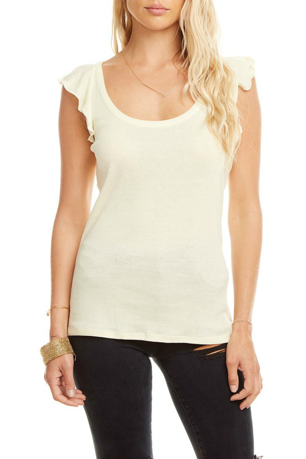 Chaser Baby Rib Knot Back Flounce Slv Tee - Front Full Image