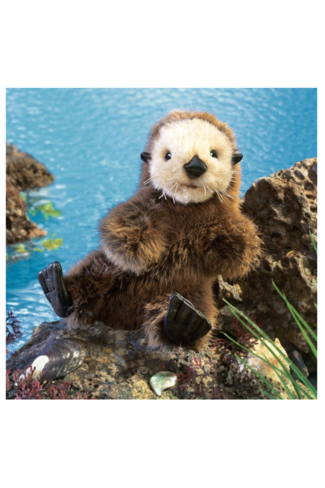 Folkmanis Baby Sea Otter Hand Puppet - Back Cropped Image