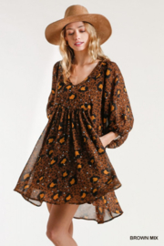umgee  Babydoll Animal Print Dress - Front full body