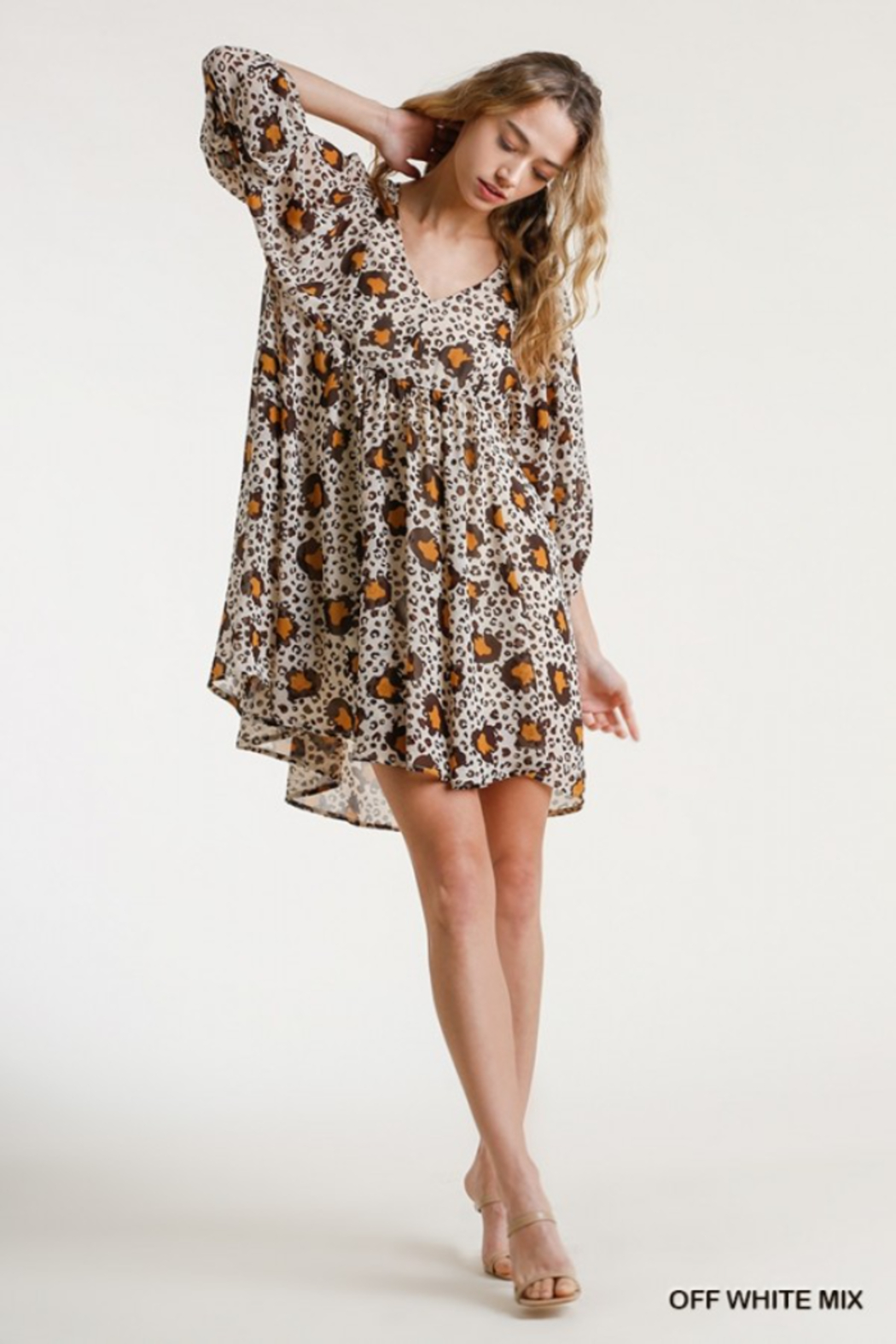 umgee  Babydoll Animal Print Dress - Front Cropped Image