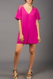 WREN & WILLA Babydoll Laced-Sleeve Romper - Front cropped