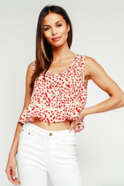 Olivaceous Babydoll Ruffle Top - Back cropped