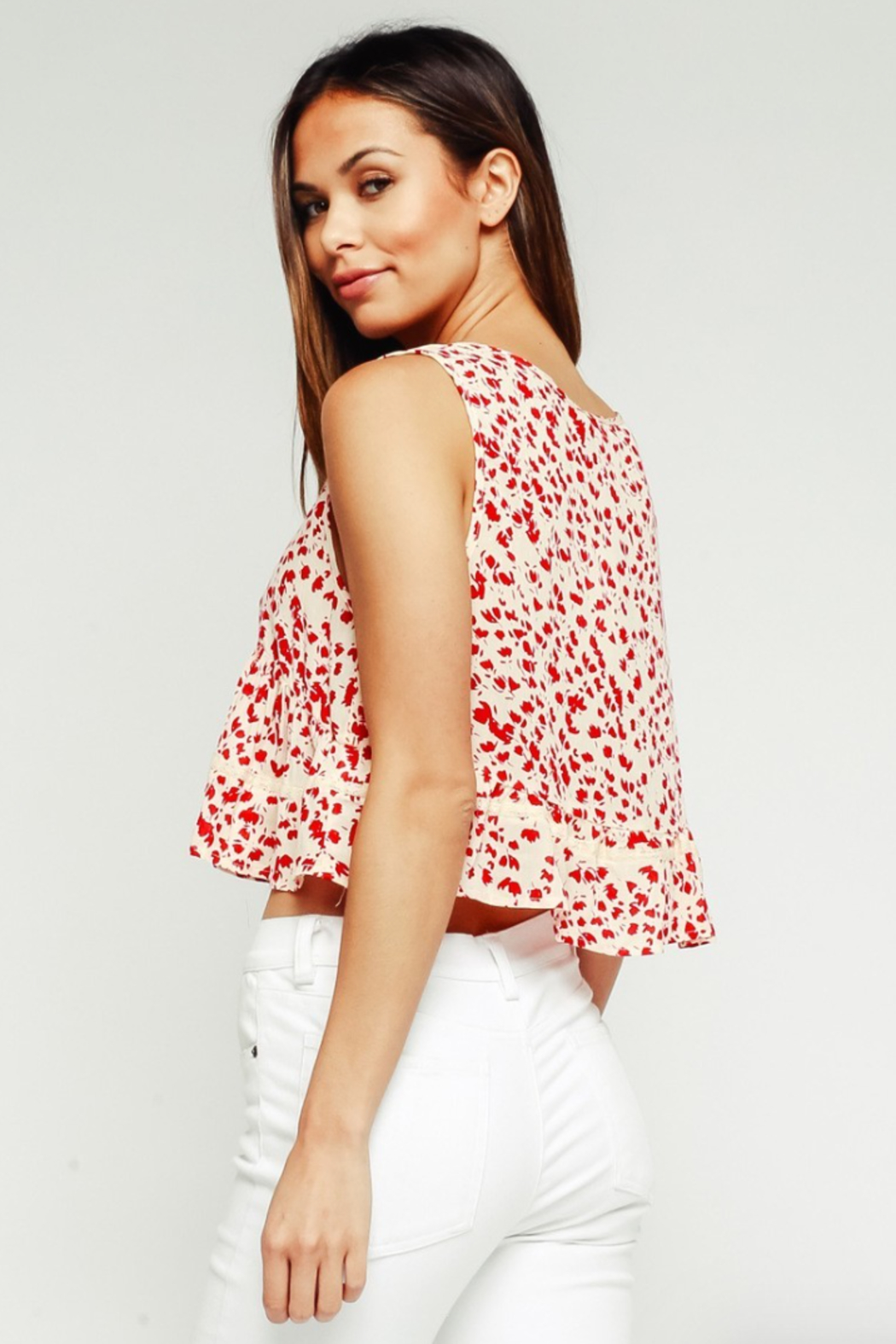 Olivaceous Babydoll Ruffle Top - Side Cropped Image