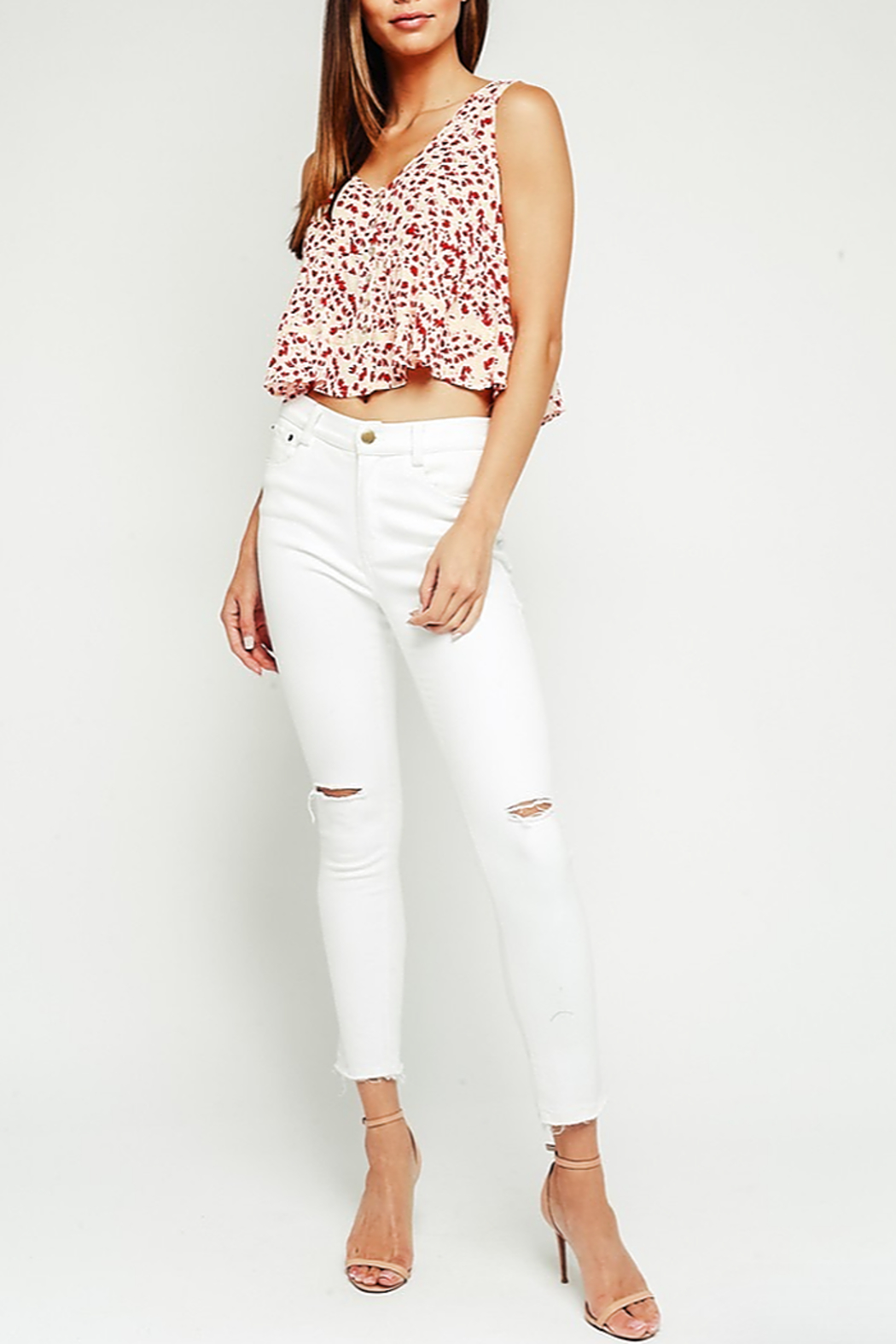 Olivaceous Babydoll Ruffle Top - Front Cropped Image