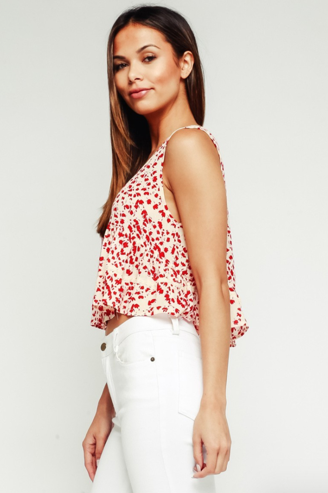 Olivaceous Babydoll Ruffle Top - Front Full Image