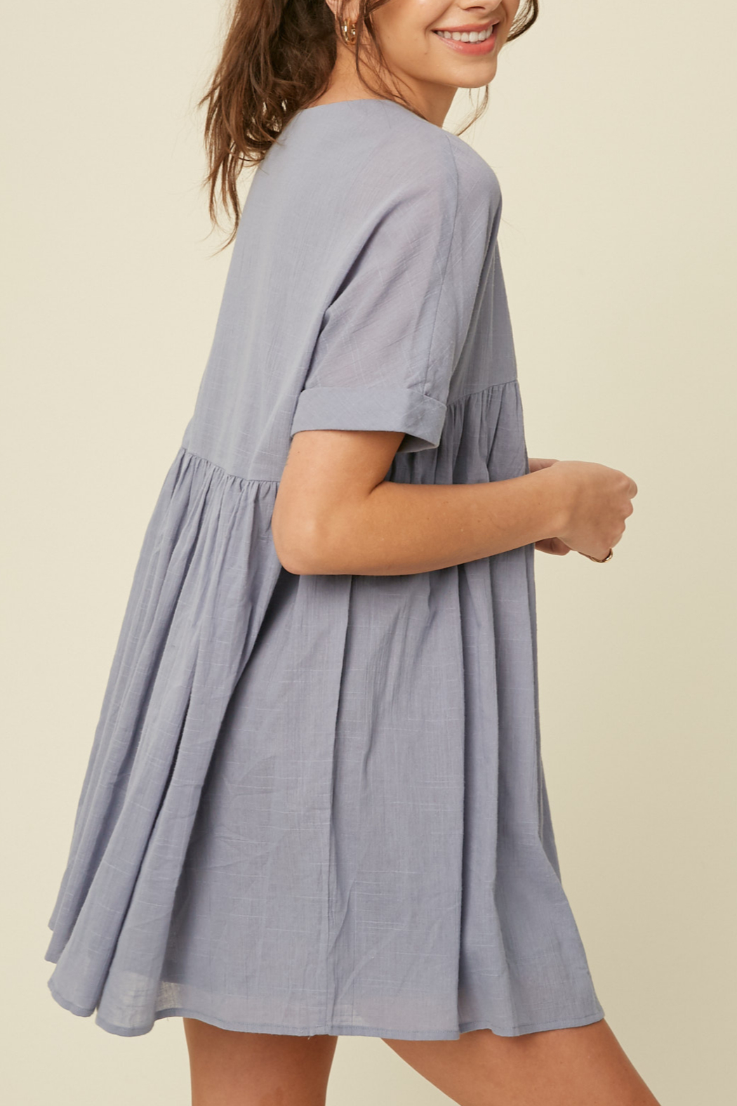 Listicle Babydoll Tunic Dress - Front Full Image