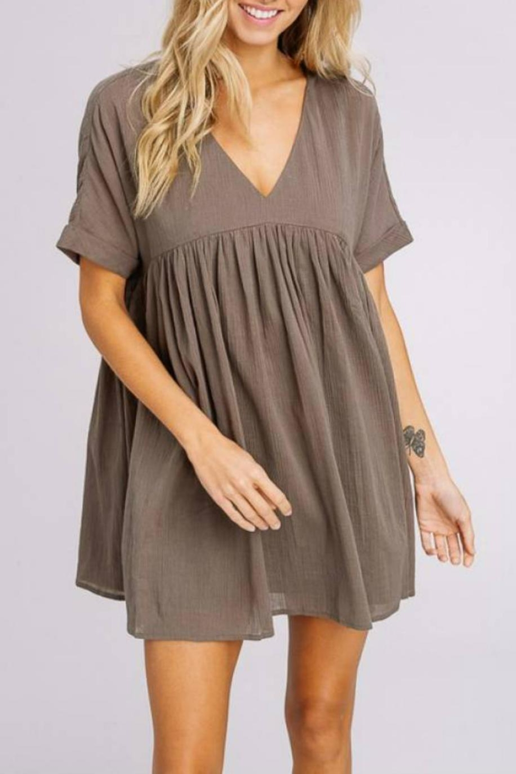 a8103e498f7 Listicle Babydoll Tunic Dress from Statesboro by Sole — Shoptiques
