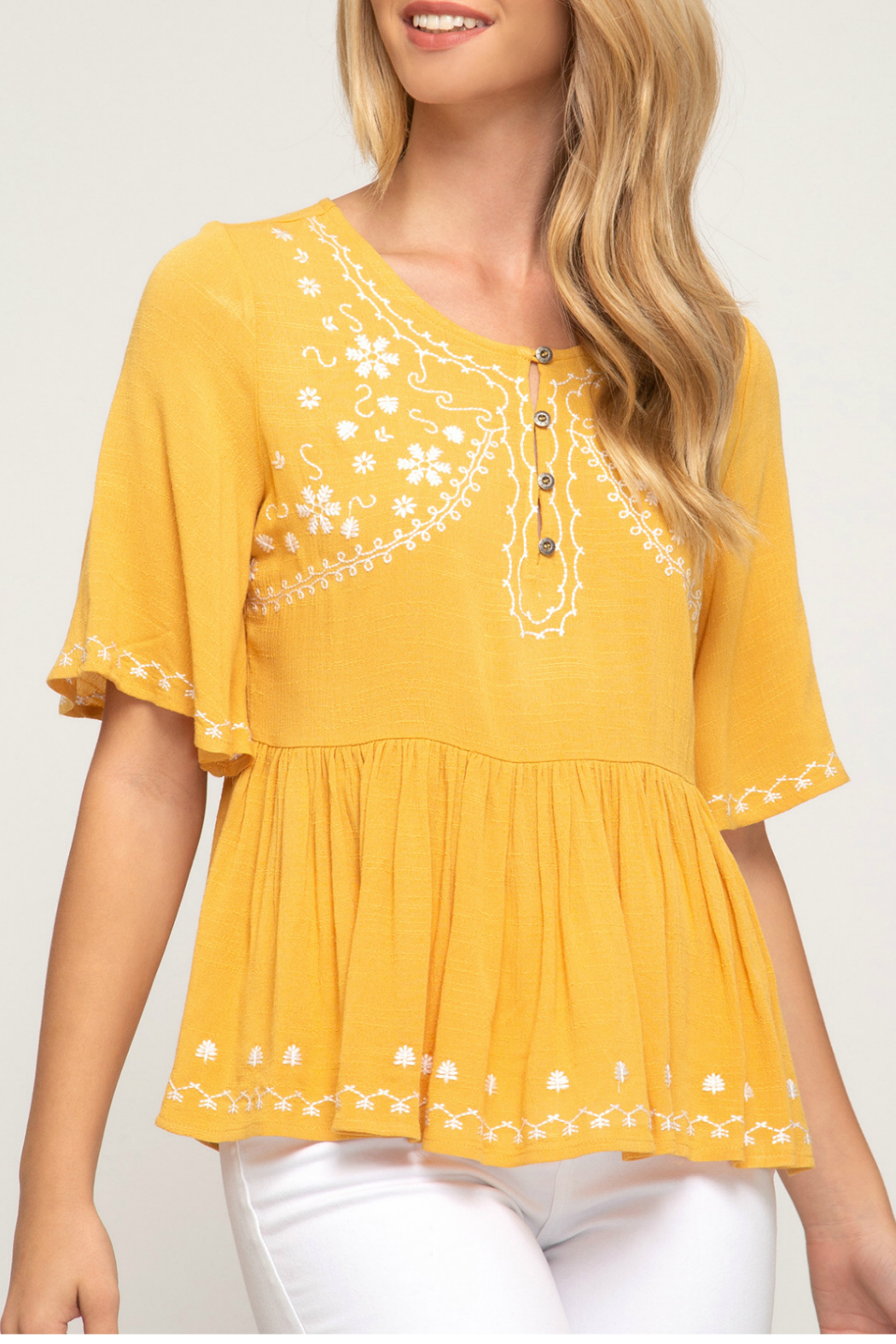 She & Sky  babydoll woven top - Front Cropped Image
