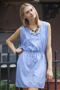 Gentle Fawn Chambray Open Shoulder Dress - Product List Image