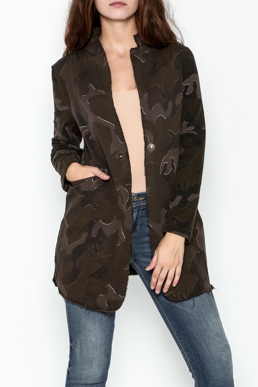 Baci Distressed Camo Jacket - Front Cropped Image