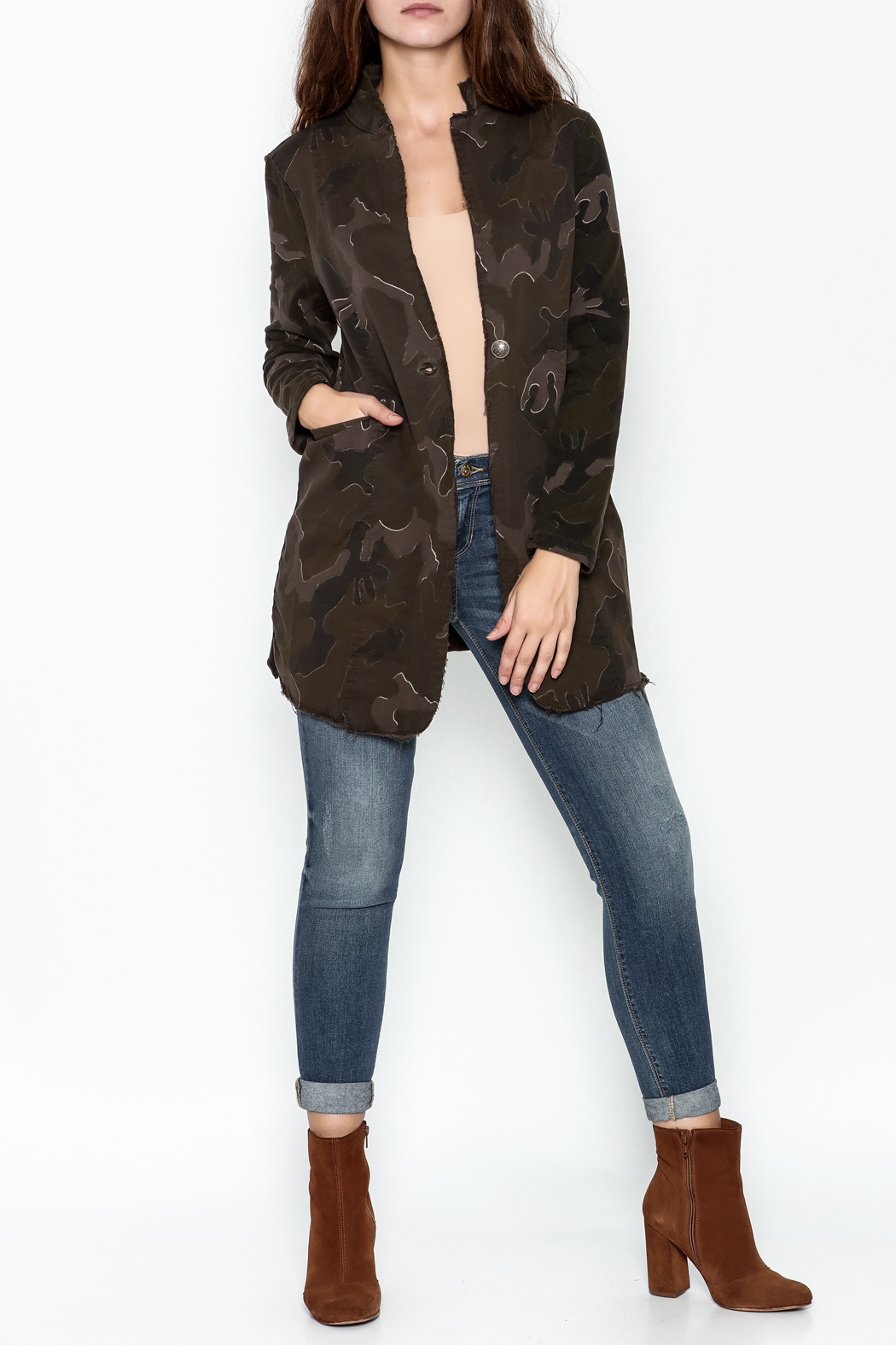 Baci Distressed Camo Jacket - Side Cropped Image