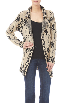 Shoptiques Product: Black And Ivory Patterned Cardigan