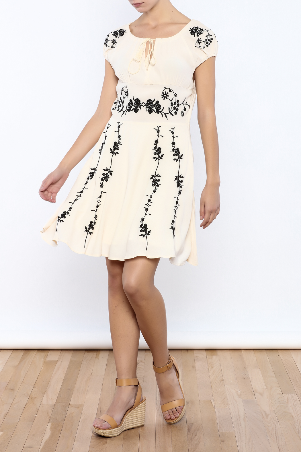 Bacio Beige Embroidered Dress - Front Full Image