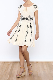 Bacio Beige Embroidered Dress - Front full body