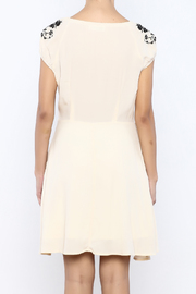Bacio Beige Embroidered Dress - Back cropped