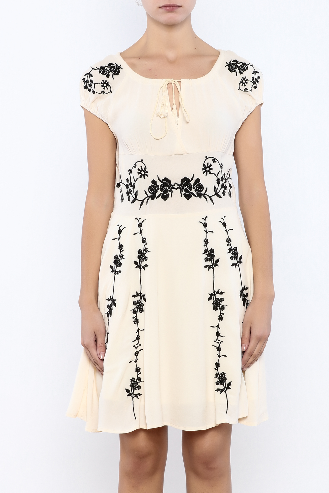 Bacio Beige Embroidered Dress - Side Cropped Image