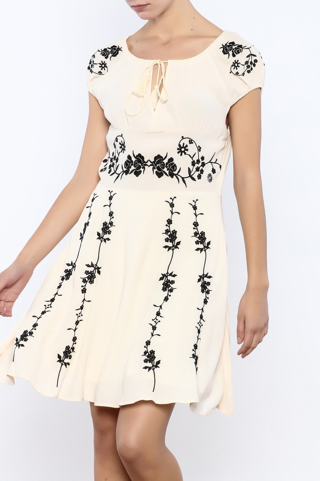 Bacio Beige Embroidered Dress - Front Cropped Image