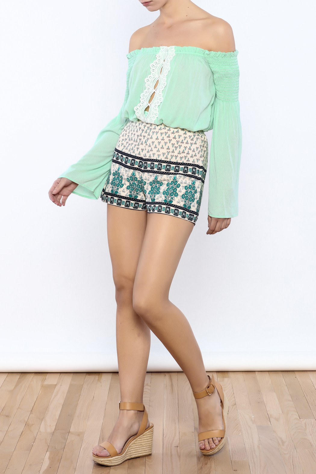 Bacio Beige Printed Shorts - Front Full Image