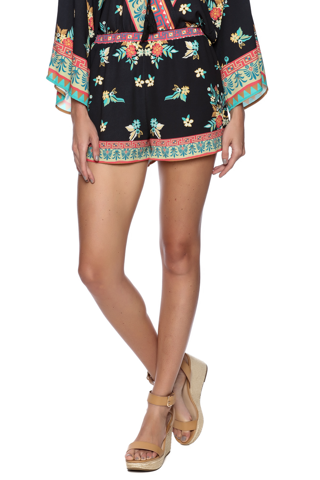 Bacio Black Floral Shorts - Front Cropped Image