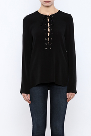 Shoptiques Product: Black Lace Up Top - Side cropped