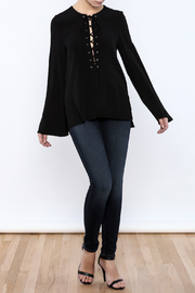 Shoptiques Product: Black Lace Up Top - Front full body