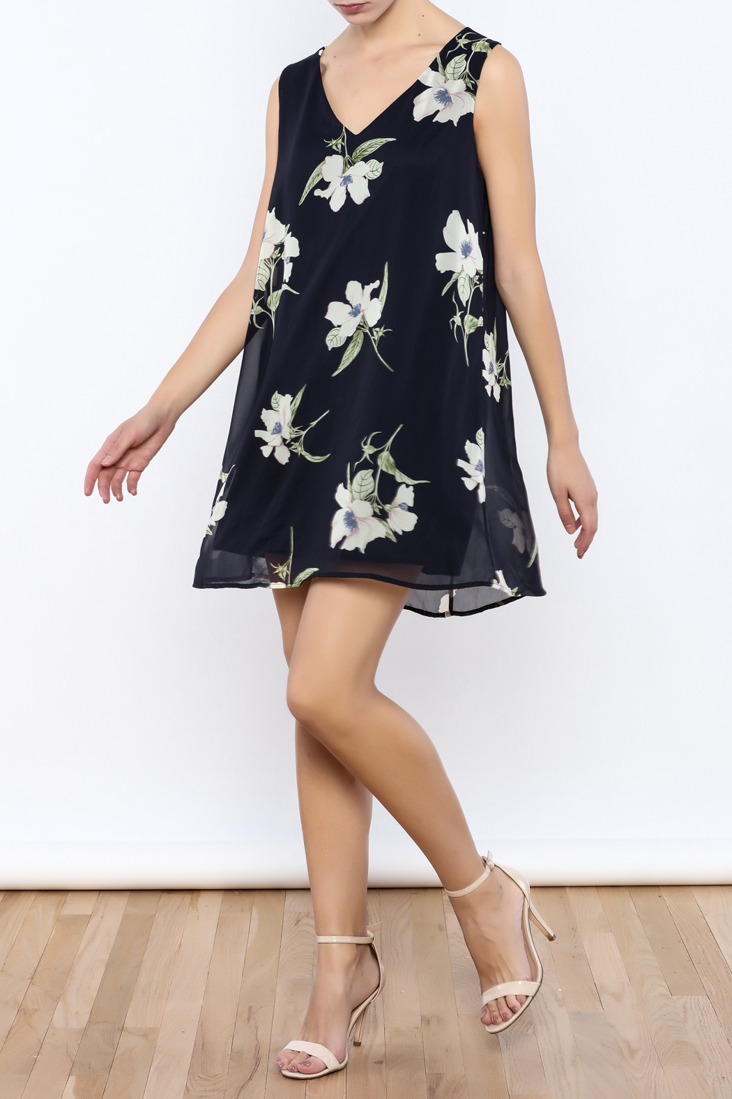 Bacio Blue Floral Dress - Front Full Image