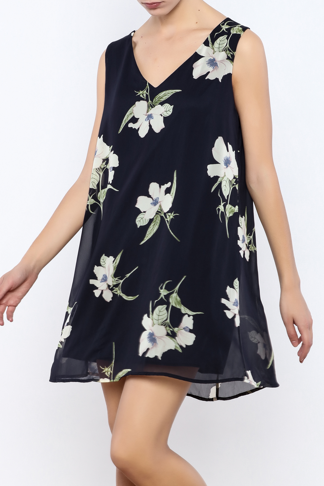 Bacio Blue Floral Dress - Main Image