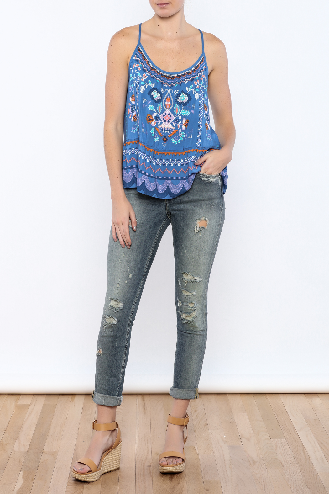 Bacio Blue Printed Top - Front Full Image