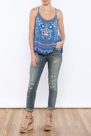 Bacio Blue Printed Top - Front full body