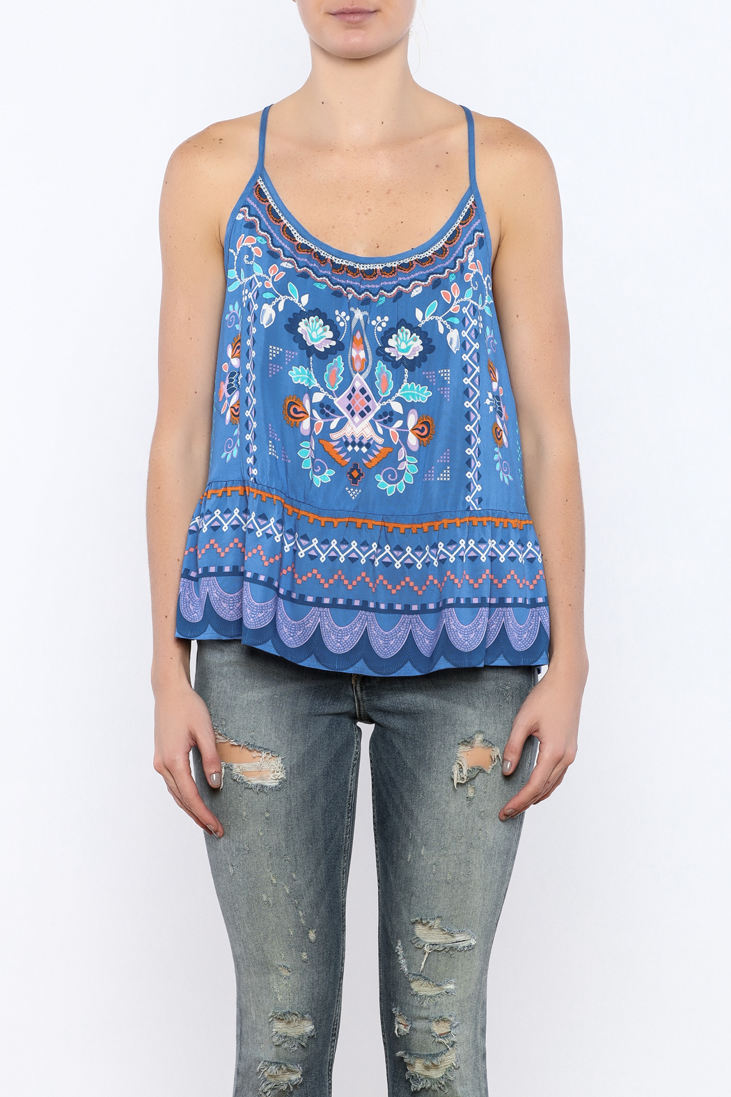 Bacio Blue Printed Top - Side Cropped Image