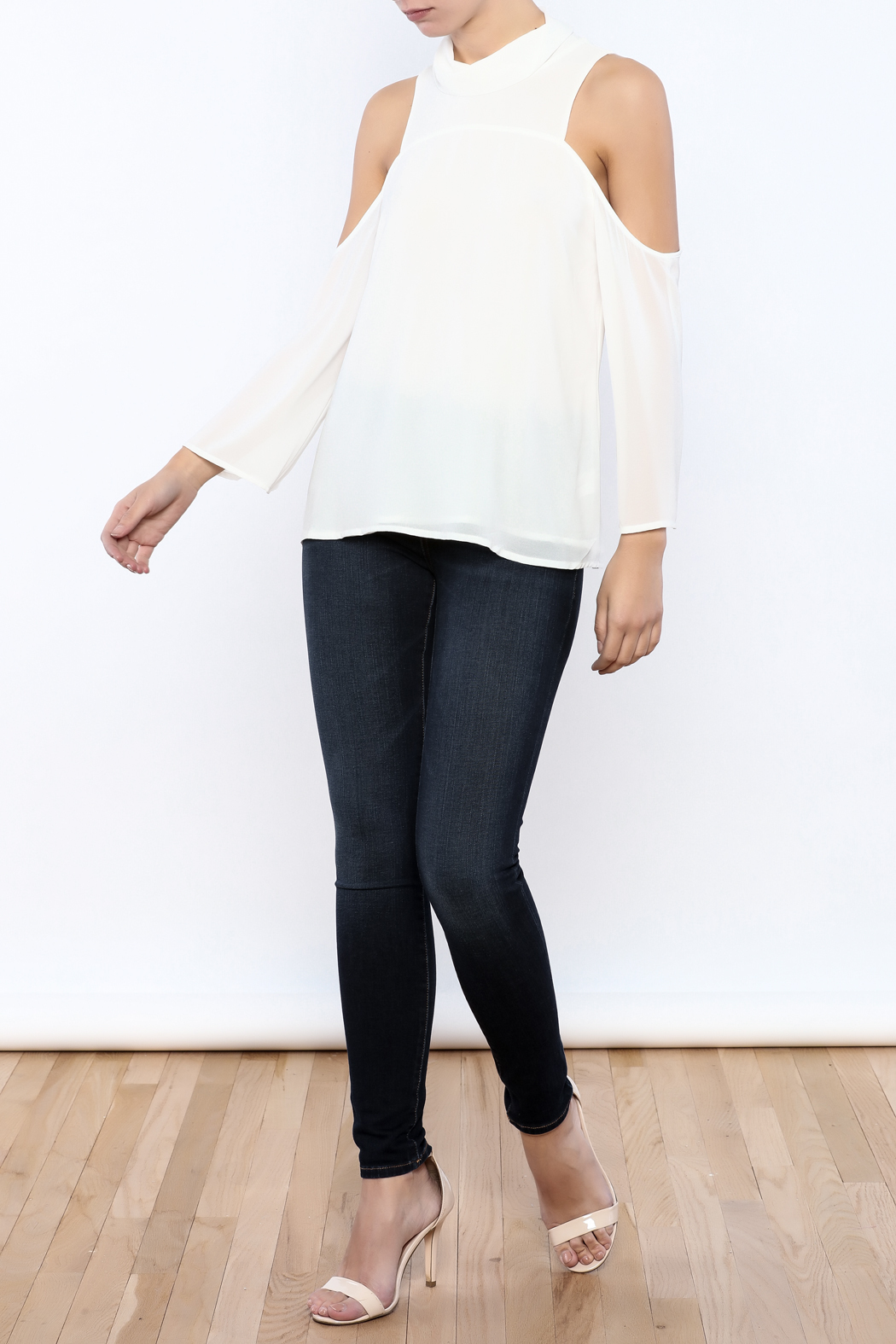 Bacio Cold Shoulder Top - Front Full Image