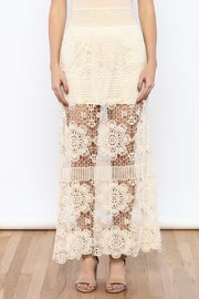 Shoptiques Product: Cream Crochet Maxi Skirt - Side cropped