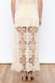 Shoptiques Product: Cream Crochet Maxi Skirt - Back cropped