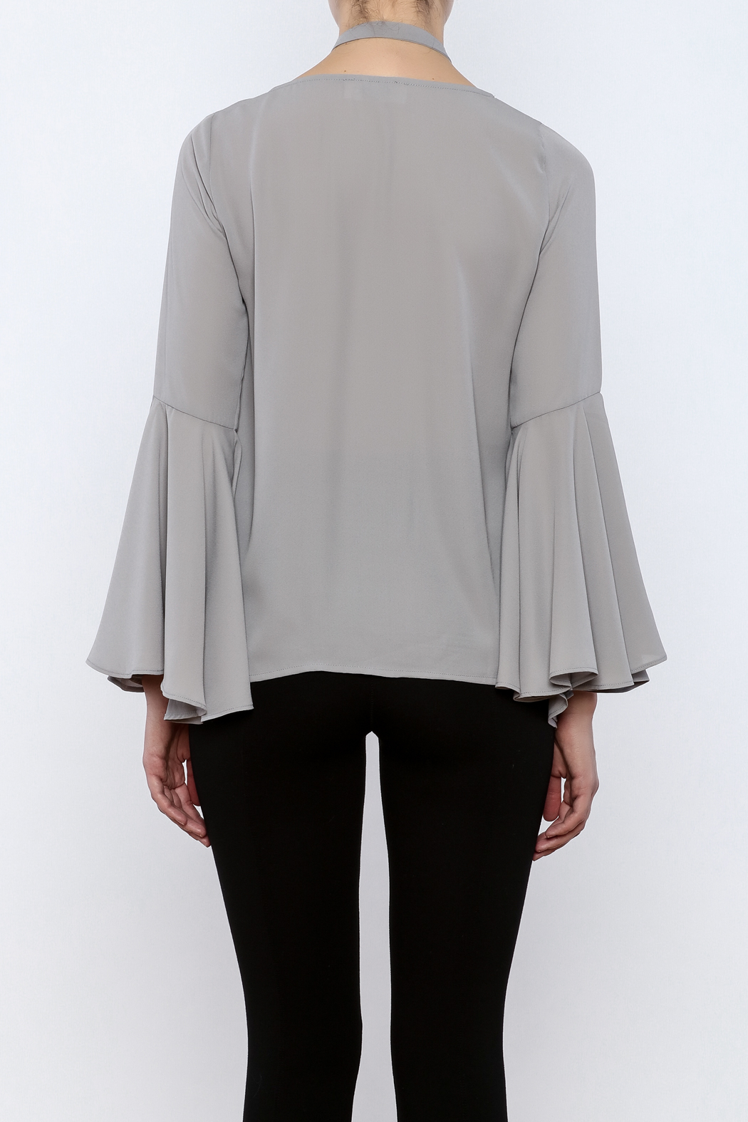Bacio Grey Bell Sleeve Top - Back Cropped Image