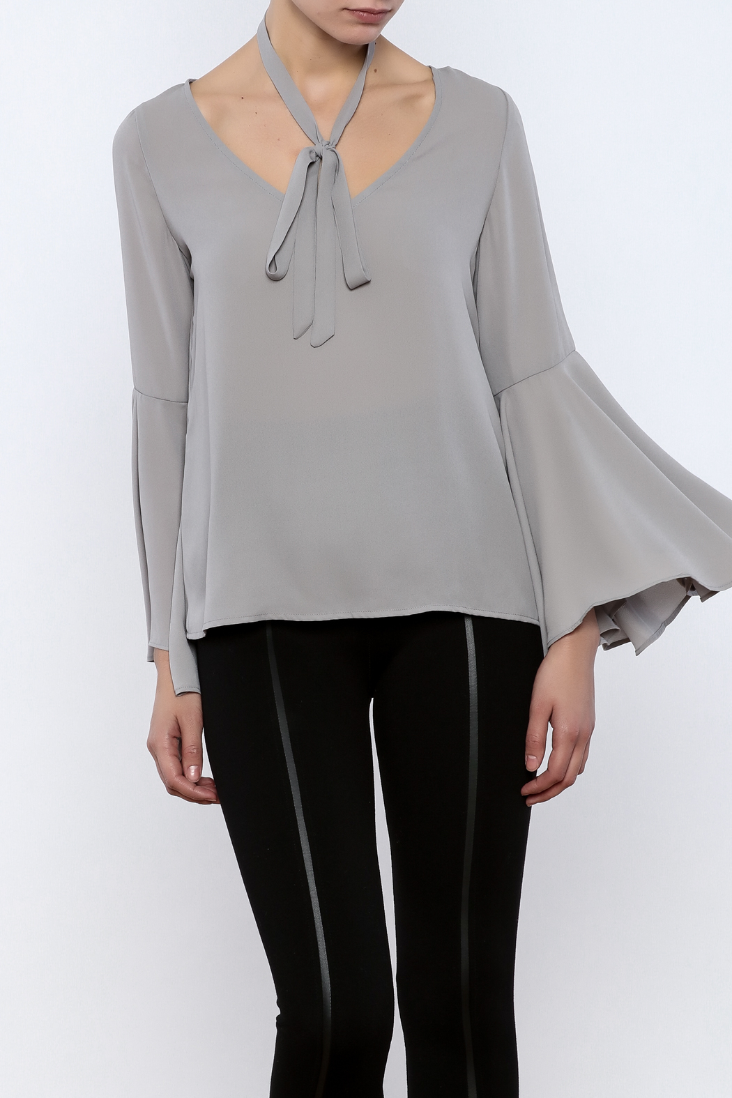 Bacio Grey Bell Sleeve Top - Front Cropped Image