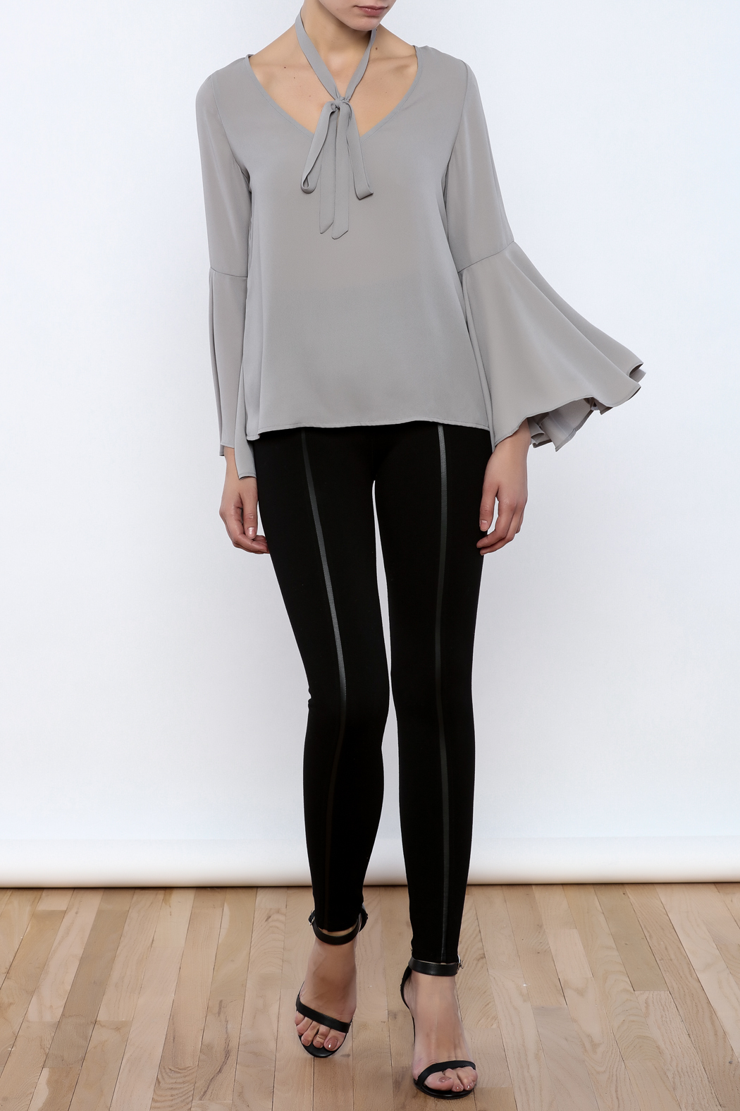 Bacio Grey Bell Sleeve Top - Front Full Image