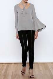 Bacio Grey Bell Sleeve Top - Front full body