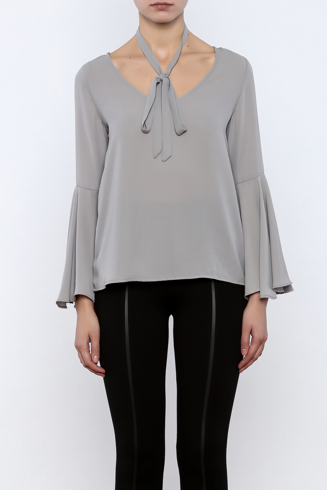 Bacio Grey Bell Sleeve Top - Side Cropped Image