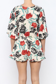 Shoptiques Product: Ivory Floral Printed Romper - Back cropped