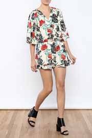 Bacio Ivory Floral Printed Romper - Front full body