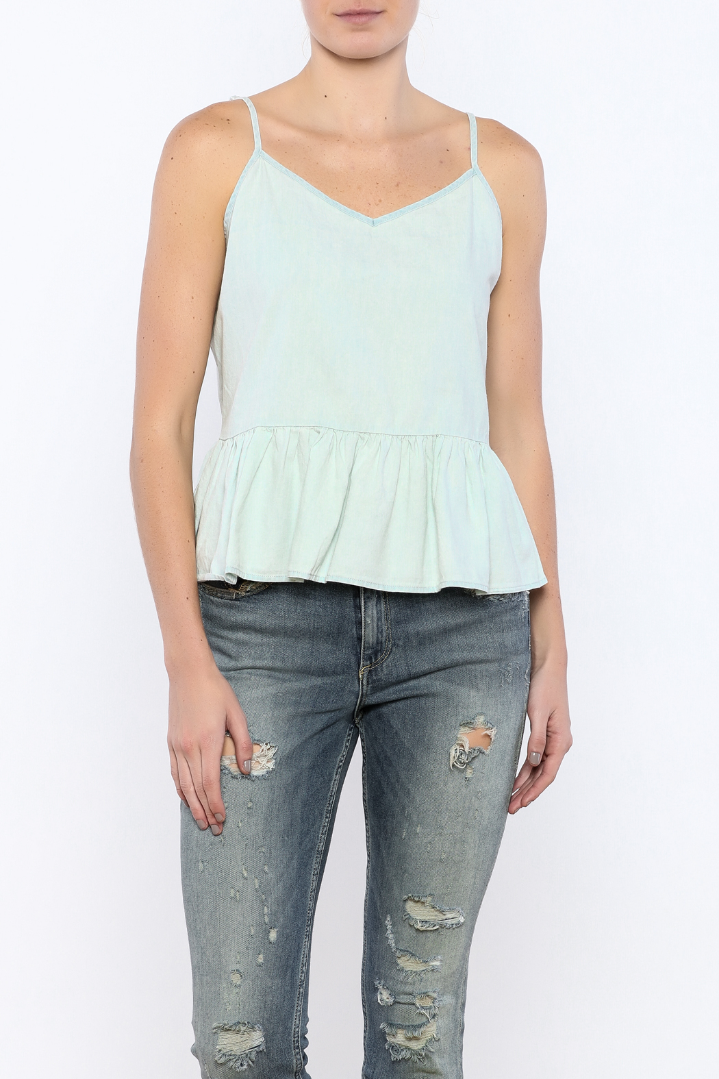 Bacio Light Denim Top - Front Cropped Image